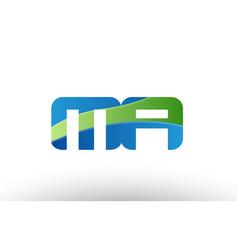 Blue green mr m r alphabet letter logo vector