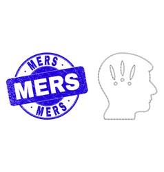 Blue grunge mers seal and web mesh headache vector