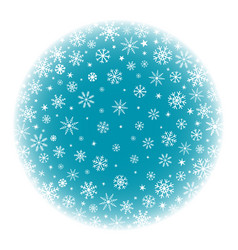 Blue winter snow ball background with snowflakes vector