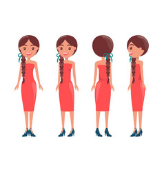 Braided pretty women in elegant dresses all sides vector