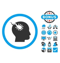 Brain Parasite Flat Icon with Bonus vector