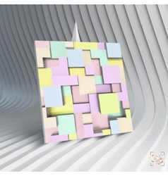 Business card 3d blocks structure background vector image