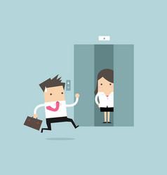 businessman running to elevator vector image