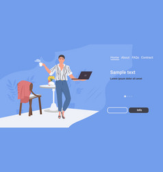 businesswoman using laptop business woman having vector image