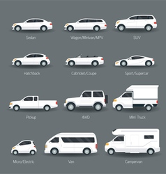 Car Type and Model Objects icons Set vector image