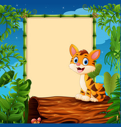 Cartoon tiger sitting on hollow log near the empty vector