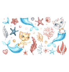 cat mermaid unicorn bacute girl watercolor vector image
