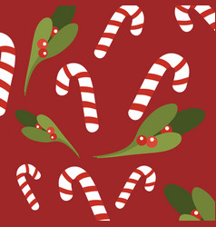 christmas seamless background with lollipop vector image