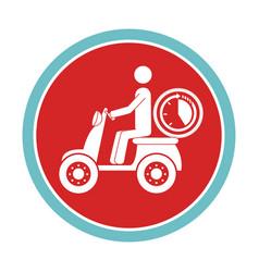 Circular emblem with delivery man in scooter and vector