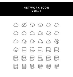 cloud computing network outline icon set vol1 vector image