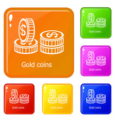 coin icons set color vector image