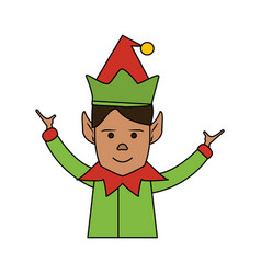 Color image cartoon half body christmas elf with vector