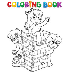coloring book kids theme 4 vector image
