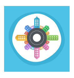 Conceptual modern and colorful cityscape flat vector