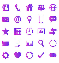 contact gradient icons on white background vector image
