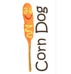 Corn dog sticker vector