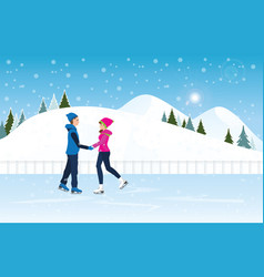 Couple skating on ice rink on cityscape landscape vector