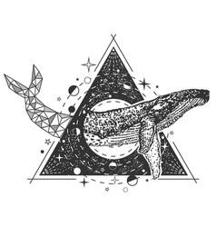 Creative geometric whale tattoo art style vector