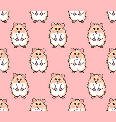 cute red eyes hamster on pink background vector image