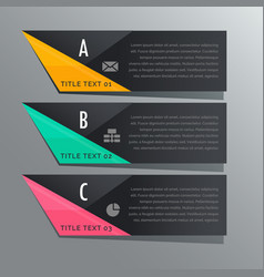 dark theme three steps infographic banners with vector image