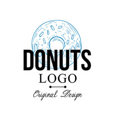 donuts logo original design retro emblem for vector image