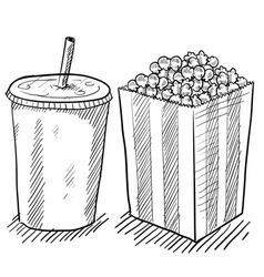 Doodle soda popcorn vector