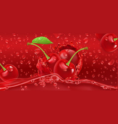 drops cherry juicy 3d realistic vector image