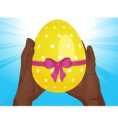Easter egg and hands vector image vector image