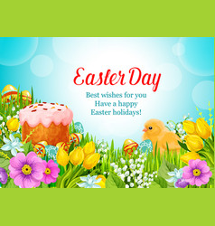 Easter greeting paschal cake eggs flowers vector