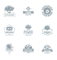 Explosion logo set simple style vector