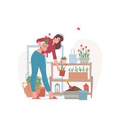 female florist arranging potted flowers on shelf vector image
