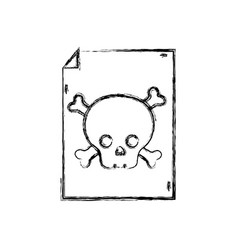 Figure danger skull bones alert inside paper vector