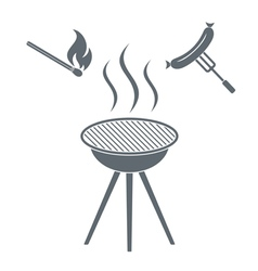 Fire and sausage icon on white background vector