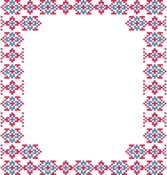 Frame blue pink patterns on canvas vector