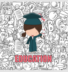 Girl graduated pupils back of education vector