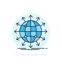 globe network arrow news worldwide flat color icon vector image
