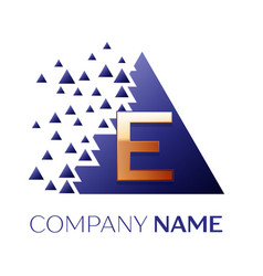 golden letter e logo symbol in blue pixel triangle vector image
