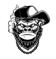 Gorilla with cigar in vintage monochrome style vector