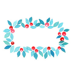 Green mint leaves and red berry christmas wreath vector