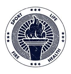 Grunge stamp fire torch vector