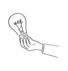 hand of businessman holding bulb light vector image