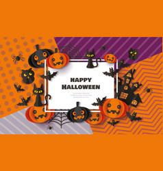 happy halloween banner with black cats bats and vector image
