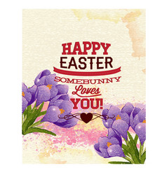 happy holiday easter day card vintage flowers vector image