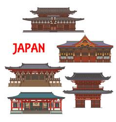 japanese temples shrines japan pagoda houses vector image