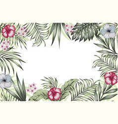 jungle frame banner poster flowers leaves vector image