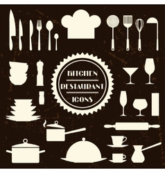 Kitchen and restaurant icons Set of utensils vector image