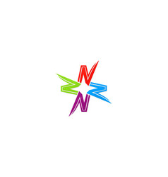 letter n star colorful logo vector image