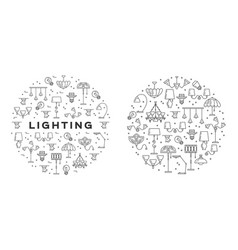 lighting line icons set wall lamp desk lamp vector image