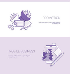 Marketing promotion and mobile business template vector