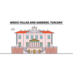 Medici villas and gardens tuscany line travel vector